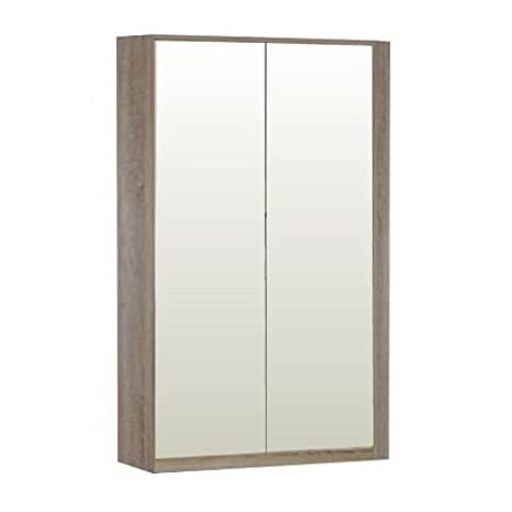 Corner Wardrobe 2 Mirror Doors - 8 Shelves - 2 Hanging Rails - German Made Quality - Flat Packed For Home Assembly
