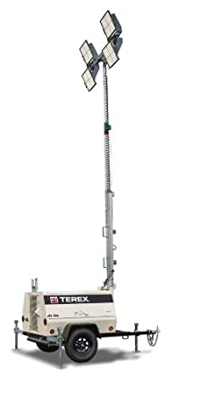 Terex AL5L Fuel Saving Portable LED Light Tower, Hybrid Battery/ 8kW Generator Powered, 1080 Watts of Light