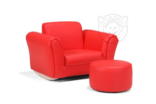 RED LAZYBONES LEATHER ROCKING Chair Armchair Kids Childrens with FREE Footstool (GENUINE LEATHER)