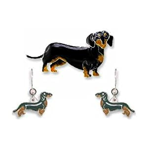 Clearly Charming Black & Tan Dachshund Dog Sterling Silver and Enamel Pin by Zarah