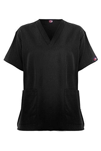 MediFit Women's Basic Solid V-Neck Color Contrasting Dual Pocket Medical Top(TOP-MED,BLK-M)
