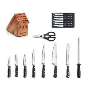 Wusthof Knife Block Set w/ Classic Forged Steak Knives, 16 Pieces