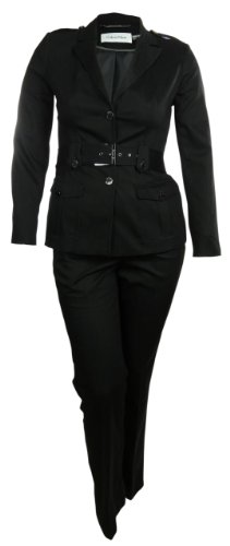Belted Womens Business Casual Dress Pant and Jacket Set