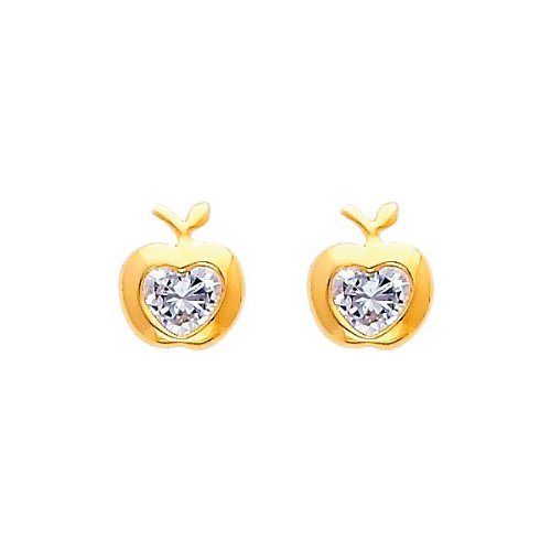 14K Yellow Gold Apple CZ Stud Earrings for Baby and Children