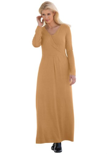 Jessica London Women's Plus Size Knit Maxi Dress Caramel Brown,12