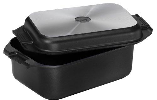 121749 Aluguss-Bräter 2in1 (8,7 Liter, inkl. Deckel und Topfhandschuhen, 41,5 x 25,5 cm) schwarz
