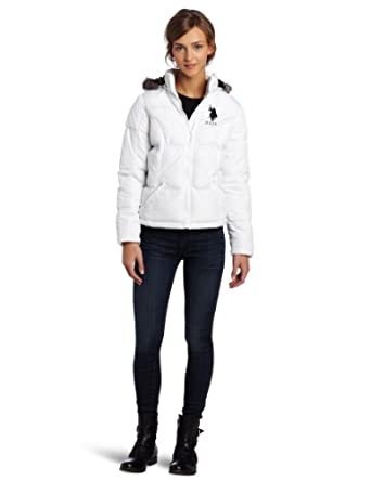 US Polo Assn. Juniors Hooded Jacket With Faux Fur Trim, Optic White/Black, Small