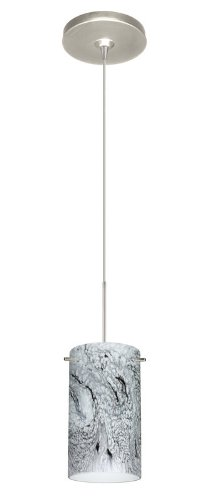 Besa Lighting 1XP-4404MG-SN Stilo 7 1-Light  12-volt Mini-Pendant, Marble Grigio Art Glass with Satin Nickel Finish