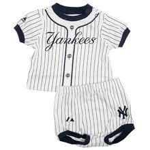 New York Yankees Newborn Baby Pinstripe Uniform Diaper Set