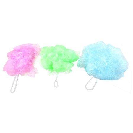 sourcingmapr-3-pieces-vert-bleu-fuchsia-maille-nylon-bain-pouf-de-douche-corps-tampon-a-recurer