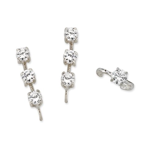 The Ear Pin Cubic Zirconias Earcuff in Silver 3-in-1 Earrings