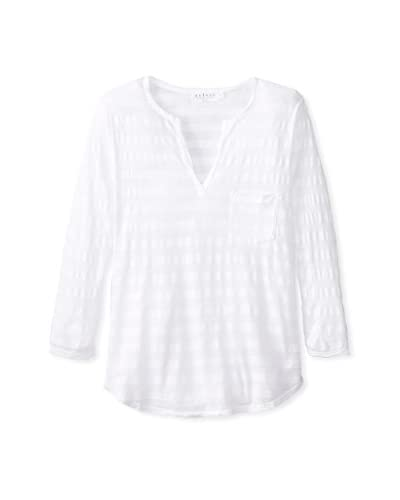 Velvet by Graham & Spencer Women's Stripe Henley  [White]