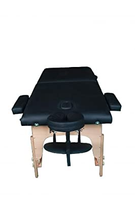 """New Black 77"""" L 30"""" W 2"""" Pad Portable Massage Table Facial Bed Spa Chair"""