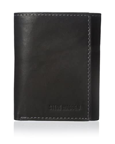 Steve Madden Men's Antique Trifold Wallet, Black, One Size
