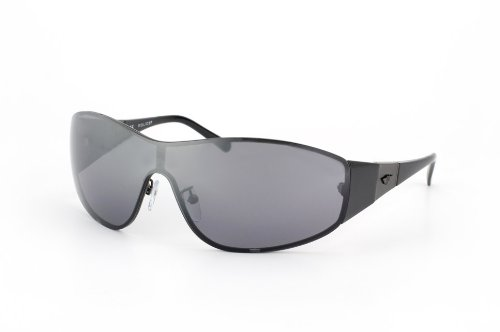 POLICE Men's MIRROR Wrap Sunglasses S8550 627X Shiny Black-Gunmetal/ Silver Lens