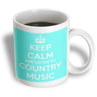 Mug_173403_1 Evadane - Funny Quotes - Keep Calm And Listen To Country Music. Turquoise And White. - Mugs - 11Oz Mug
