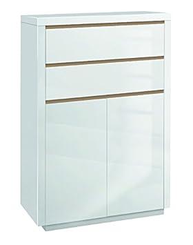 Phönix 158898WEE Solina cómoda con 2 puertas, 2 cajones y listones intercambiables sombra, blanco