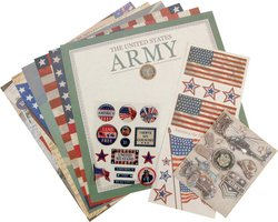 K&Company Military 12-Inch-by-12-Inch Scrapbook Kit Layouts, Army