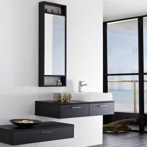 ensemble meubles suspendu salle de bain pose mural miroir 2 etag res rangement mural 1. Black Bedroom Furniture Sets. Home Design Ideas