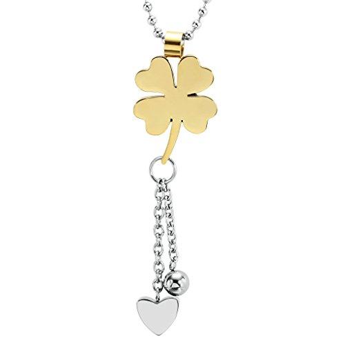 Bishilin Acciaio Inossidabile Oro Quadrifoglio Cuore Tassel Pendenti Collanine Amicizia con Charm per Donna Dimensioni 1.5x4.7CM