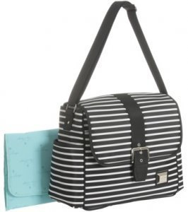 Liz Lange New York Black/Grey Striped Designer Fashion Tote Baby Diaper Bag - 1