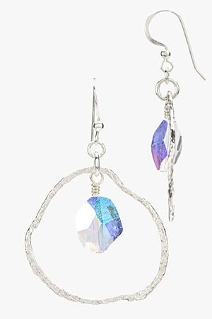 Contemporary Silver Circle Earrings with Swarovski Crystal Drop (Small) Indicolite