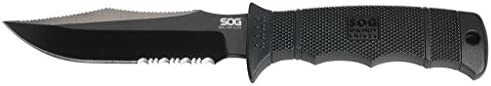 SOG Specialty Knives & Tools E37T-K Seal Pup Elite Knife with Part-Serrated Fixed 4.85-Inch AUS-8 Steel Blade and GRN Handle, Kydex Sheath, Black TiNi