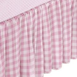 Portable Crib Gingham Dust Ruffles - Color Pink front-798281