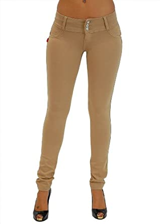 U-Turn Style 1119 Butt lifting, Levanta Cola, Skinny Leg Premium French Terry Fashion Moleton in Beige