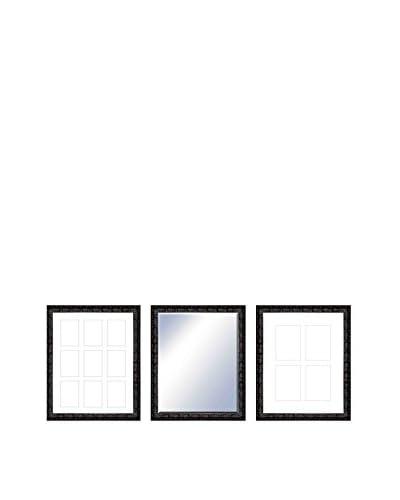 PTM Images Thomas Gallery 3-Piece Wood Mirror & Photo Collage Set, Black/Dark Maroon
