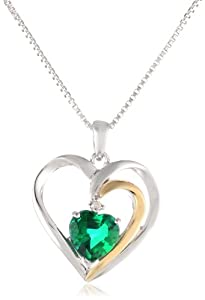 XPY Sterling Silver and 14k Gold Emerald Heart Pendant Necklace, 18