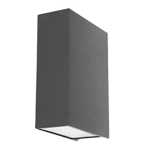 Applique Beacon Ledlux Vice Square 220883 Colore Antracite Protezione IP44 con emissione luce verso l'alto e verso il basso 220-240 Volt 6W con 2 lampade CREE a 2 punti luminosi 50 Lm 3000 K Struttura in vetro e lega di alluminio Dimensioni 40x93x123 mm