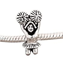 European charm metal bead CHEERLEADER Fit All Brands Silver Plated Bracelets Beads Charms