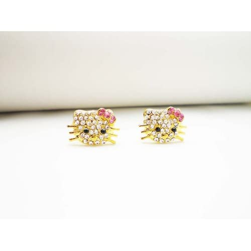 GOLD PINK CRYSTAL HELLO KITTY STUD EARRINGS