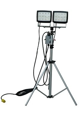 Larsonelectronics 2, 40-Watt Led Flood Lights On Telescoping Tripod - Extends 3.5' To 10' - 120Vac - 25' Soow Cord
