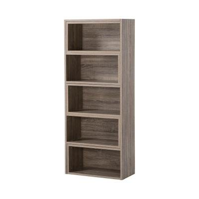 Decorative Expandable Shelving Console in Reclaimed Wood 5 or 9-Shelf Natural Cherry 2 Door Cabinet