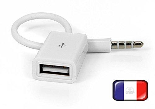 Wooshshop® Adaptateur Sync 3.5mm Male AUX Audio Plug Jack Vers USB 2.0 Femmelle