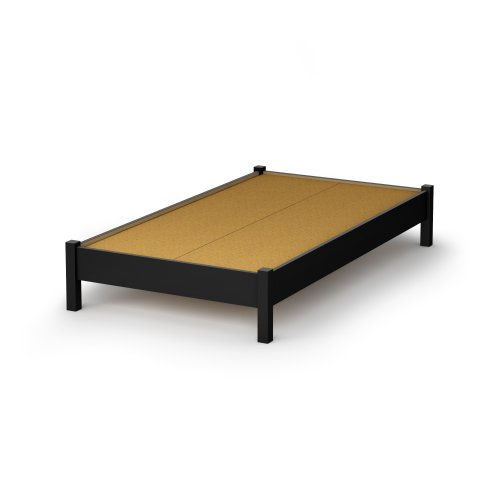 South Shore Sandbox Collection 39-Inch Twin Platform Bed, Pure Black front-904346