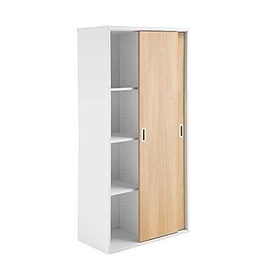 AJ Produkter AB 1613148Modulus armadio metallico con ante in legno di quercia, 1600mm x 800mm, colore: bianco