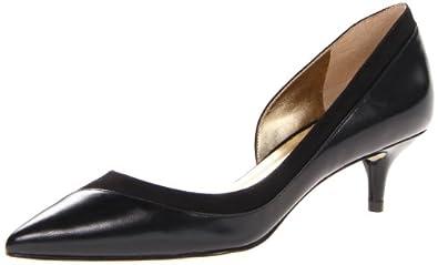 Nine West Women's Imtheboss Pump,Black/Black Leather,5 M US