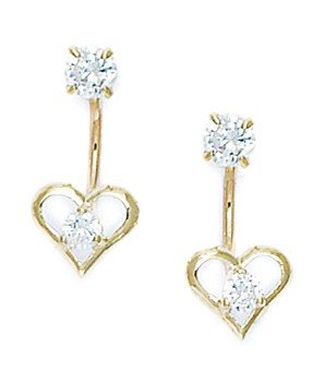 14ct Yellow Gold CZ Heart Telephone Earrings - Measures 17x7mm