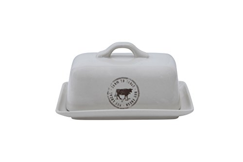 Creative Co-op DA5366 Stoneware Butter Dish with Cow Decal, Multicolor (Butter And Sugar Dish compare prices)