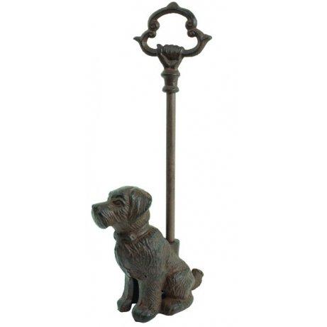 Sitting Dog Door Stop Porter with Handle, Rustic Cast Iron, 16-inch