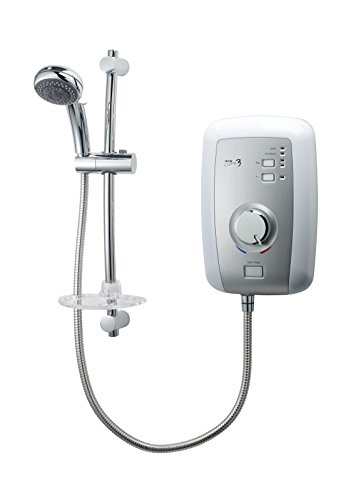Triton Opal 3 9.5 kW Electric Shower - White/Brushed Steel Effect