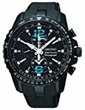 Mens Watch Seiko SNAF25 Sportura Sportura Chronograph Stainless Steel Case Black thumbnail