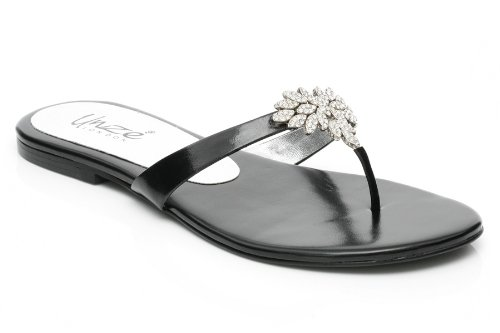Cheap Unze Women Silver Crystal Trim Adorned Thong Summer Party, Evening, Wedding Slipper – Ab-3204 (B0059049Q2)
