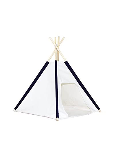 Dexton Pocket Dog Teepee with Floor Cover, Natural/Blue, Small