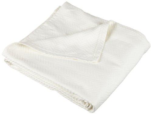 Pinzon Signature Zero-Twist 100-Percent Egyptian Cotton Blanket, Full/Queen, Cream front-1063347