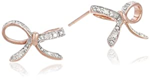 10k Rose Gold Diamond Bow Earrings (.06 cttw, I-J Color, I2-I3 Clarity)