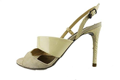 MANAS sandali donna 37 EU beige vernice camoscio AH919